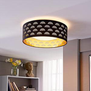 Jorunn - Plafonnier LED en textile, noir et or