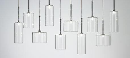 Belle suspension en verre Spillray à 12 lampes