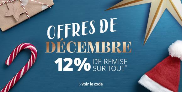 Offres de décembre -12% dès 150 € d'achats