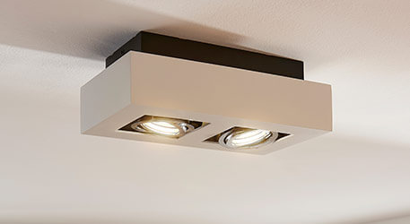 Spot LED carré Vince à deux lampes, blanc