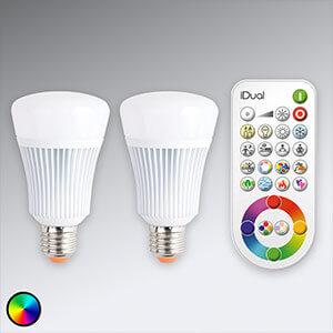 2 ampoules LED iDual E14 avec télécommande