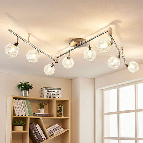 Plafonnier LED 8 lampes Ticino, fils alu tressés