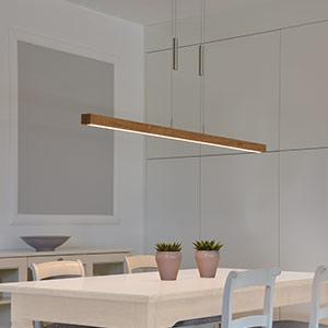 Pendentif LED graduable Leonora - bois massif 160
