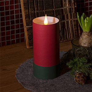 Bougie LED cylindre & couvercle - flamme 3D, rouge