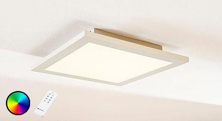 Panneau LED carré Tinus, RVB et blanc chaud
