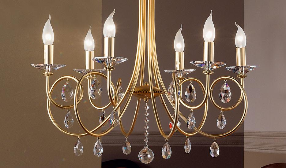 Lustre VIOLETTA à 6 ampoules, doré (7253040)