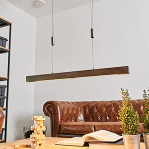 Suspension LED bois Nora de forme allongée, 78 cm