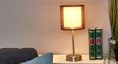 Lampe de chevet Nica avec abat-jour en tissu brun