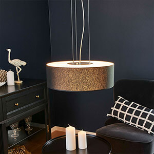 Suspension LED tissu Gala, noir mat