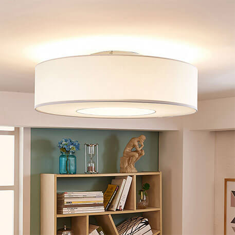 Plafonnier LED blanc en tissu Ragnar, 4 niveaux graduable.