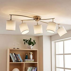 Plafonnier LED blanc en tissu Mirola, 5 flammes
